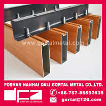 25x100 wood grain metal sqare baffle ceiling