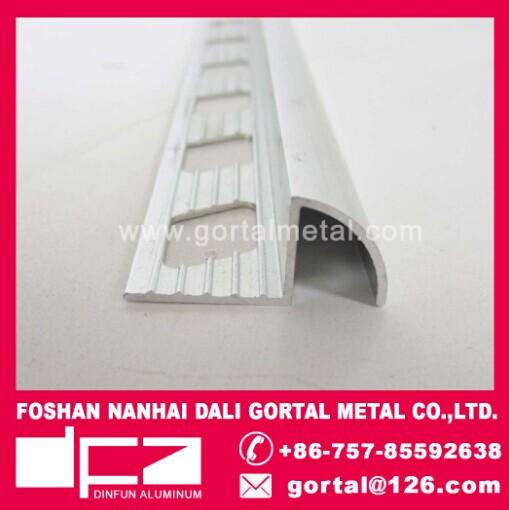 Aluminum round corner polished silver tile trim