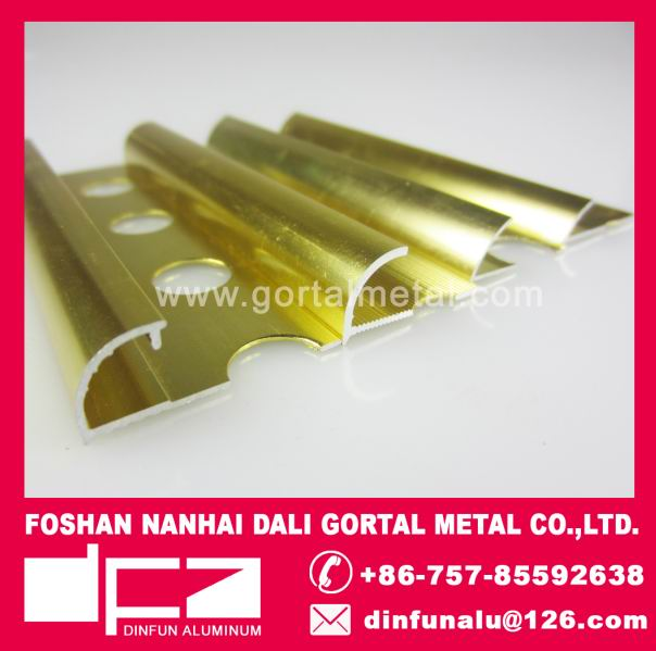 aluminum round corner edge tile trim polished golden export to Europe